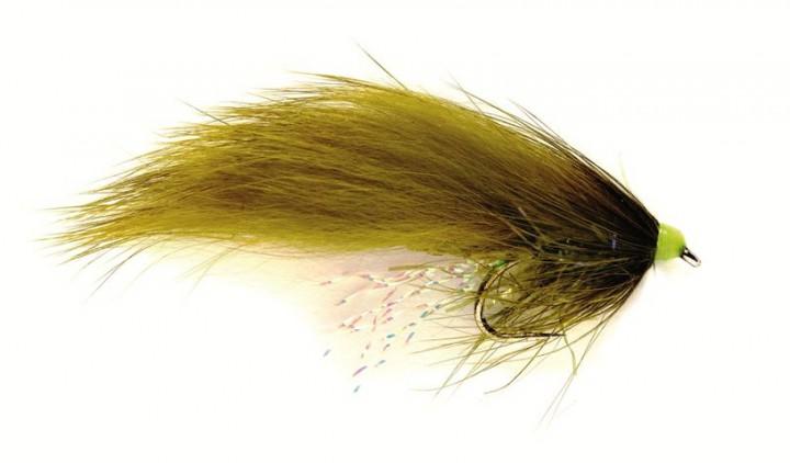 Fulling Mill Streamer - SR Hot Head Straggle Zonker oliv