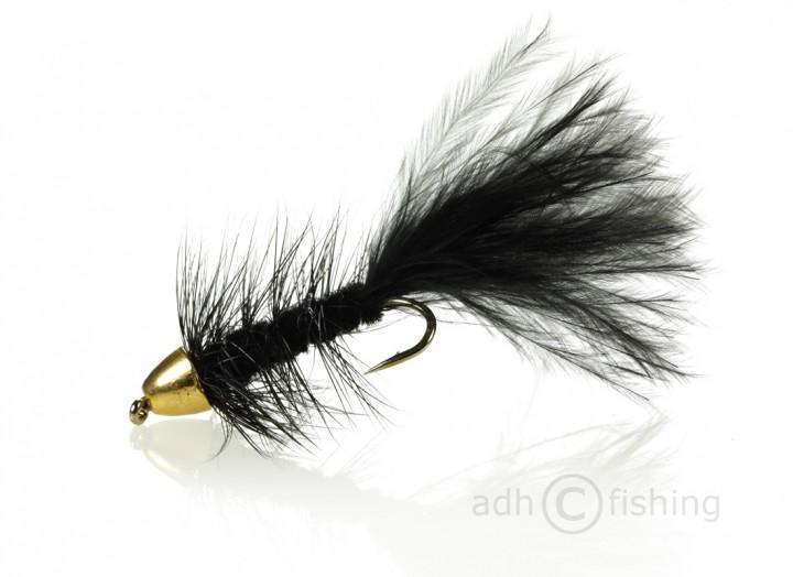 Fulling Mill Streamer - Golden Bullet Wooly Bugger Black