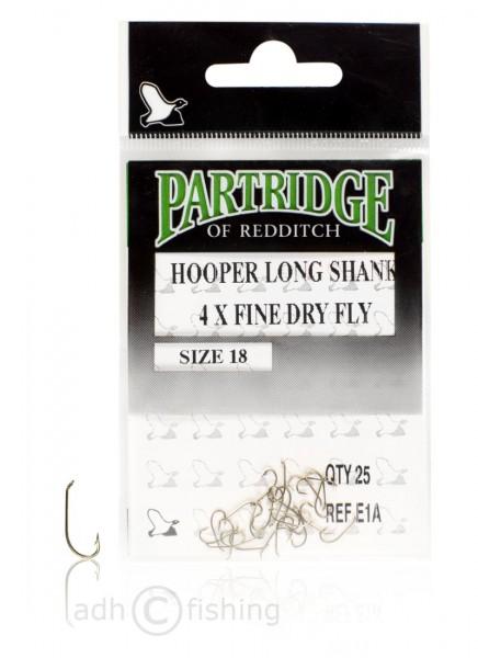 Partridge E1A Hooper Long Shank 4X Fine Dry Fly