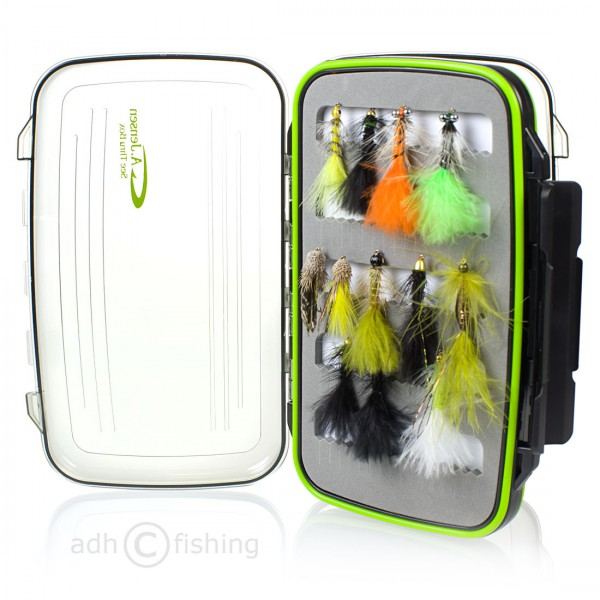 adh-fishing Fliegenset in A.Jensen See Thru Box Trout Streamer
