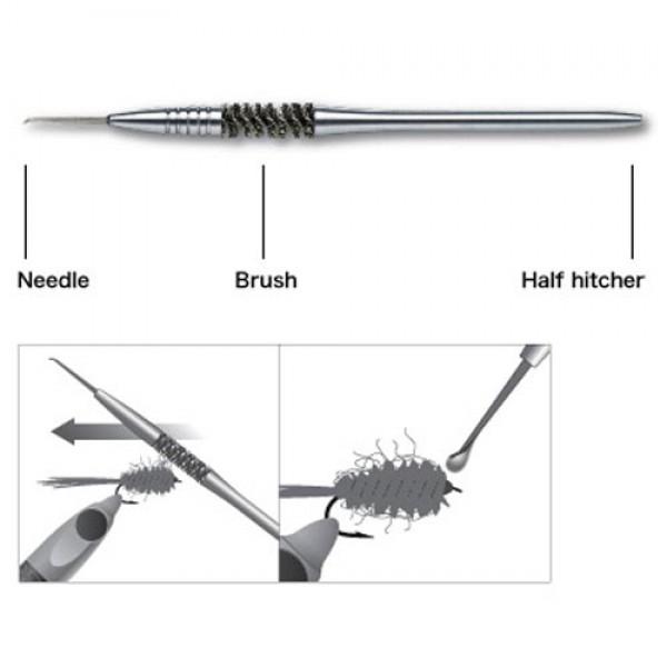 C&F Design CFT-70 3-in-1 Dubbing Brush Dubbing-Bürste inkl. Nadel u. Halbschlag-Knotenbinder