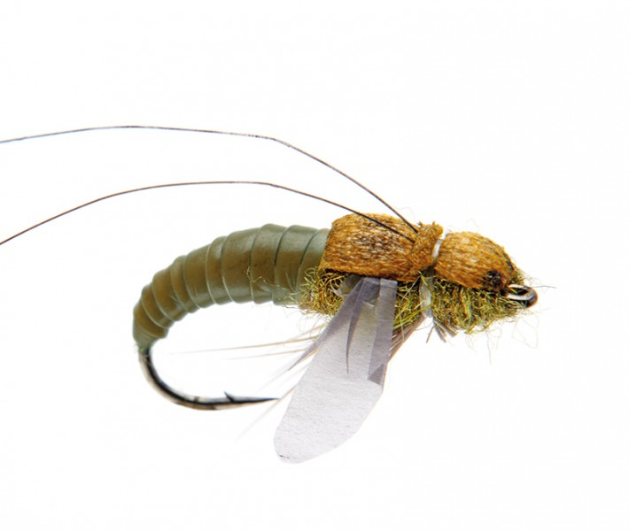 J:son Realistic Flies - Caddis Pupa olive brown