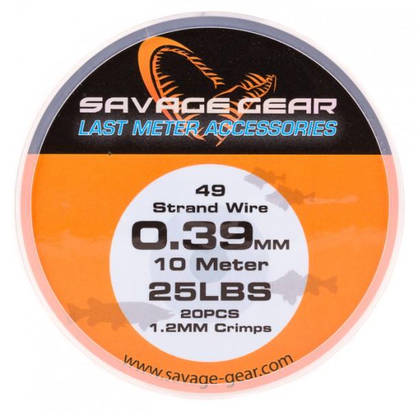 Savage Gear 49 Strand Wire Stahlvorfach mit Klemmhülsen