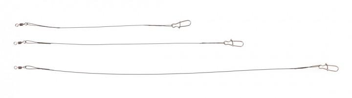 Stahlvorfach 1x7 mit Karabiner und Wirbel