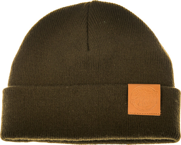 Ahrex Tight Knit Leather Patch Beanie Mütze loden