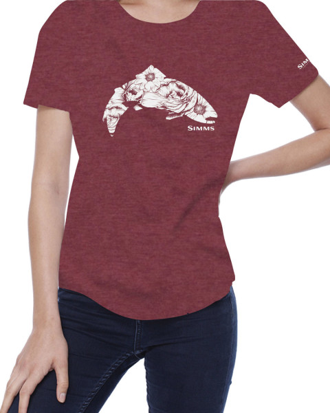 Simms Womens Anderson Floral Trout T-Shirt burgundy heather