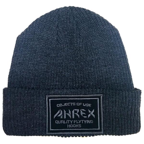 Ahrex Ribbed Knit Woven Patch Beanie Mütze dark grey