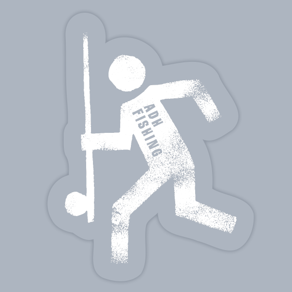 adh-fishing Escape Man Sticker white