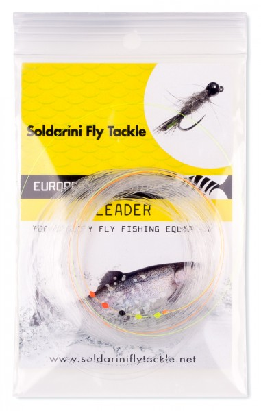 Soldarini Fly Tackle Euro Nymph UV-Leader 5 Drops 30 ft Tapered
