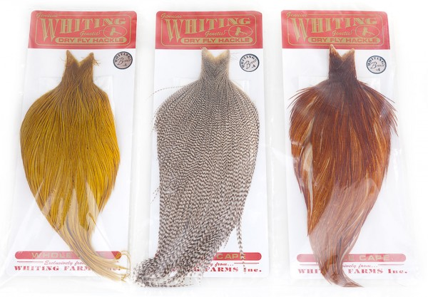 Whiting Dry Fly Hackle Cape Bronze ganz oder halb