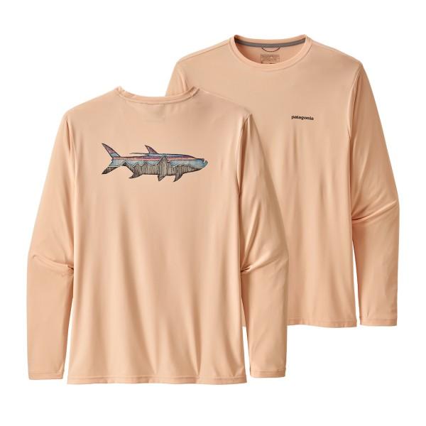 Patagonia Long-Sleeved Daily Tech Fish Tee Langarmhemd STLP Sketched Fitz Roy Tarpon Light Peach Sherbet (STLP)