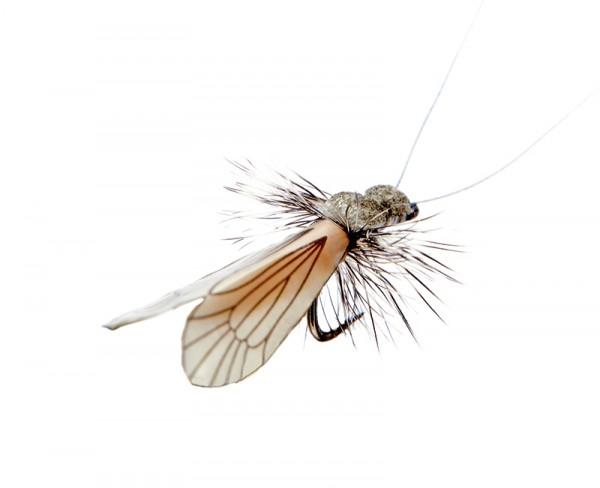 J:son Realistic Flies - Caddis Adult ash grey / pumpkin orange