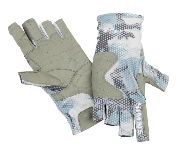 Simms Solarflex Guide Glove Handschuh hex flo camo grey blue