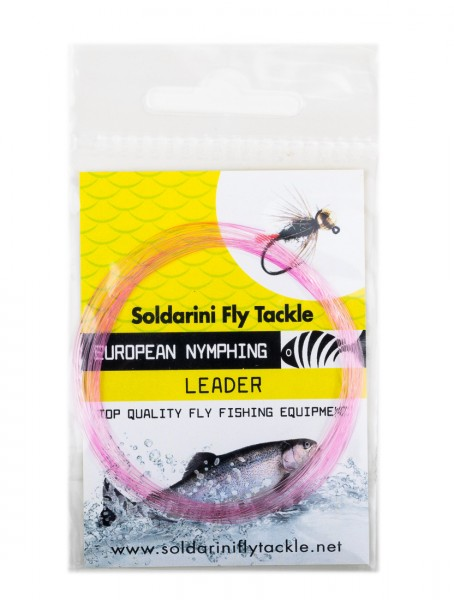 Soldarini Fly Tackle Euro Nymph Tapered Leader Nymphen-Vorfach 12 ft pink